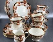 Sutherland Imari England Bone China 19 piece Tea Set Vintage Teacups Cake Plate Snack Plate Creamer