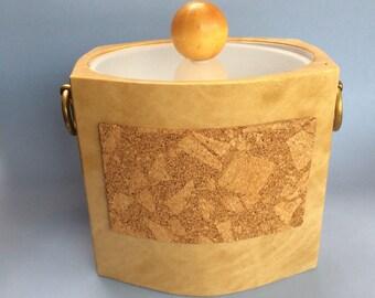 Vinyl and Cork Ice Bucket Vintage Mid Century