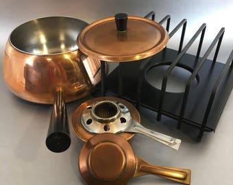 Vintage Spring Culinox Copper & Wrought Iron Fondue Set Switzerland Warming Pot
