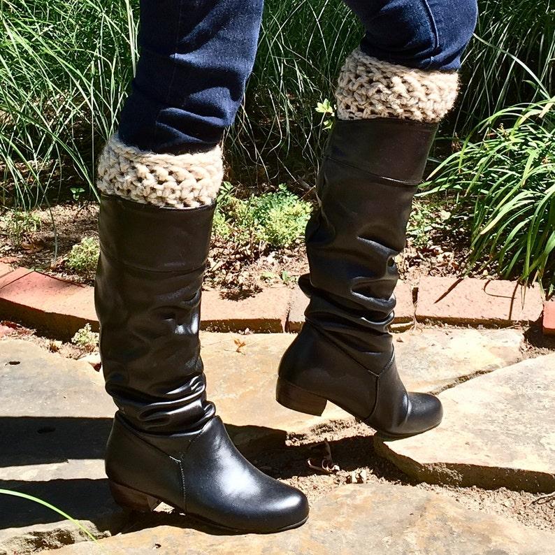 f1715ebcdd2 Two Tier Chunky Boot Cuffs Oatmeal Wool Boot Socks & Cuffs Ivory Boot  Topper Crochet Bootcuffs Adult Sizes Women Leg Warmers Gifts under 25