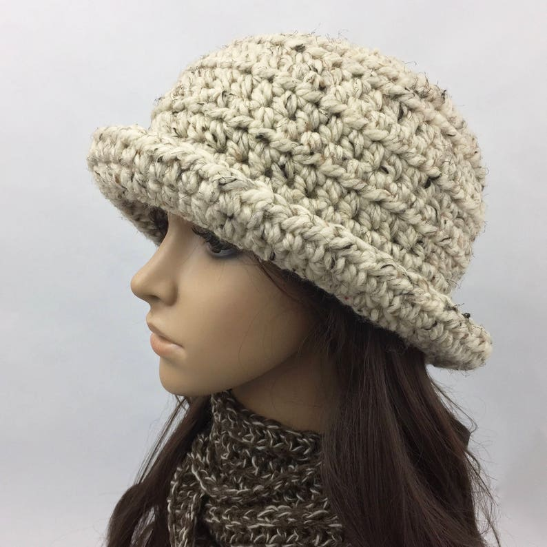 6a05686a4e1 Chunky Hat Winter Wool Hat with Brim Handmade Winter Hats for