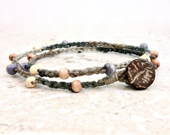 Hemp Anklet Double Wrap Anklet Hemp Wood Bead Anklet Natural Jewelry Tan Brown Grey Anklet Beach Crochet Anklet Gift Bohemian Jewelry Boho