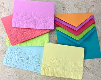 Spring Card Set Tulips Cards and Envelopes Spring Colors Yellow Lavender Green Red Blue Embossed Cards A2 Colorful Envelope Blank Card Set