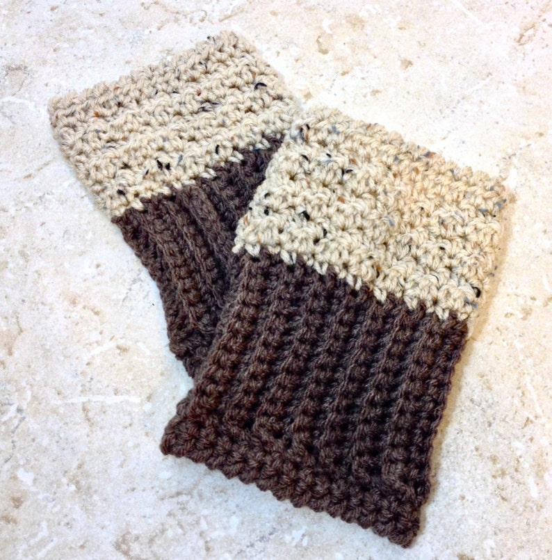c544bc19f6b Reversible Boot Cuffs Oatmeal Brown Boot Socks 2 in 1 Boot Toppers Tan  Crochet Leg Warmers Wheat Knit Bootcuffs Adult Sizes Brown and Tan
