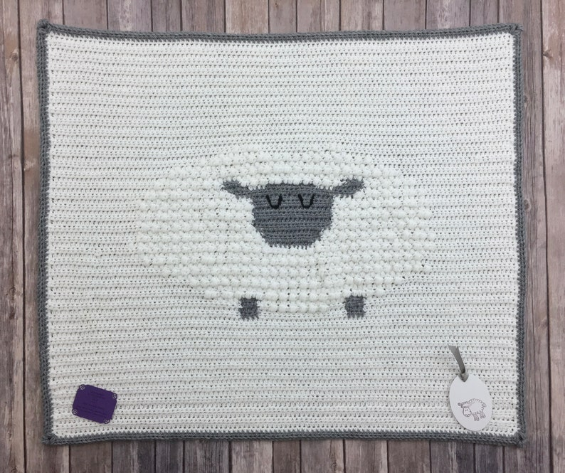 Sleepy Time Sheep Baby Blanket White Grey Crocheted Baby Blanket with Textured Sheep Cuddle Receiving Blanket for New Baby Boy or Girl