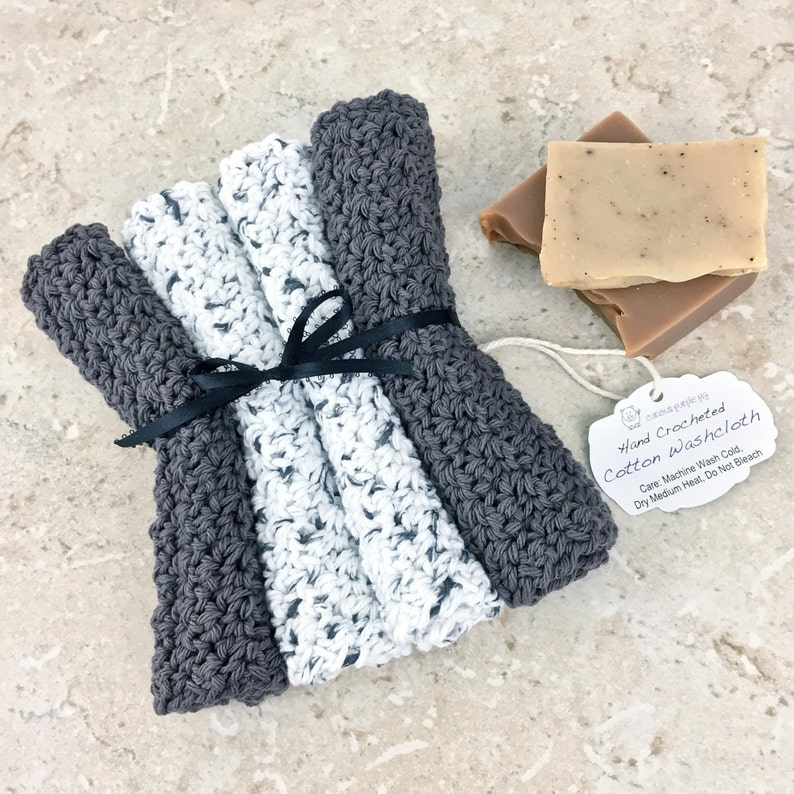 Grey White Washcloth Cotton Spa Set Crocheted Washcloth Set image 0
