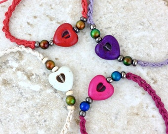 Heart Bracelet with Mood Beads, Retro Hemp Jewelry 70s Hippie Bracelet, Adjustable Hemp Bracelet Stone Heart Custom Colors Friendship & Love
