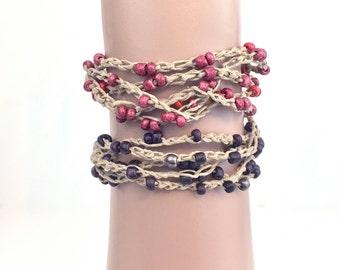 Natural Hemp Boho Bracelet Multistrand Bracelet Bead Jewelry Brown Red Grey Tan Crochet Bracelet Bohemian Jewelry Beach Summer Gifts for Her