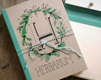 READY TO SHIP - Herbarium - for pressed flowers, plants, leaves // hand lettered, botanical stamps // unique design // gift for all ages