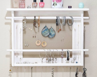 JEWELRY ORGANIZER, LARGE Wall Mounted Jewelry Holder, Available in your choice of stain color and background metal. With 2 bracelet bars