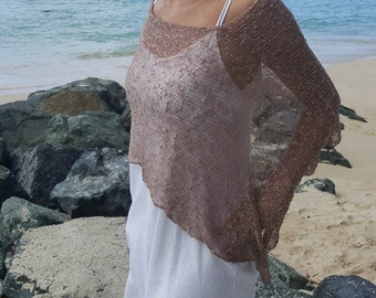 e38202a1e0180 Mocha boho summer knit poncho, ethereal grunge shawl, boho hippie cover up,  summer beach poncho cover up, 28 colours.