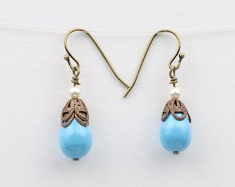 Lapis Blue Swarovski Pearl Earrings - Pearl Drop Earrings - Swarovski Earrings - Pearl Earrings