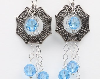 Crystal Earrings - Blue Topaz Swarovski Crystal Earrings - Swarovski Earrings - Dangle Earrings