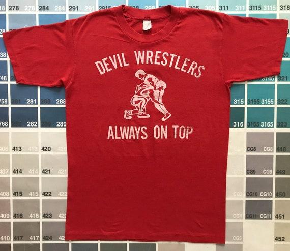 1970s vintage devil t-shirt with Devil Wrestlers A