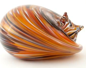 Tortoiseshell Cat, Glass Sculpture,