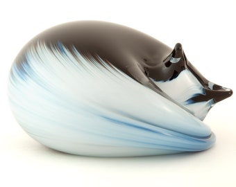 Glass Cat Sculpture, Black Body with White Face and Tail