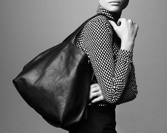 black leather tote bag - black leather purse - black leather shoulder bag - black leather bag - leather tote purse - designer bags - CLS2L