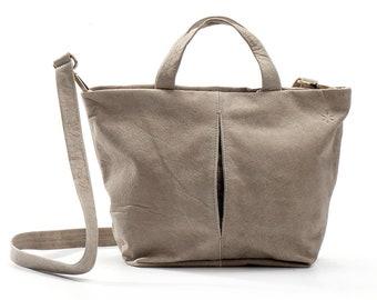 beige leather tote bag with zipper - beige leather handbag - beige leather bag - beige leather purse - leather shoulder bag - MARIANNE M L