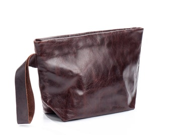 brown clutch - brown Leather clutch purse - wristlet leather clutch bag - wristlet purse - wristlet clutch - zipper clutch - KISSL
