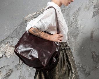 brown leather purse - brown leather tote bag - brown tote bag - brown tote purse - brown leather bag - brown leather shoulder bag - CLS2L