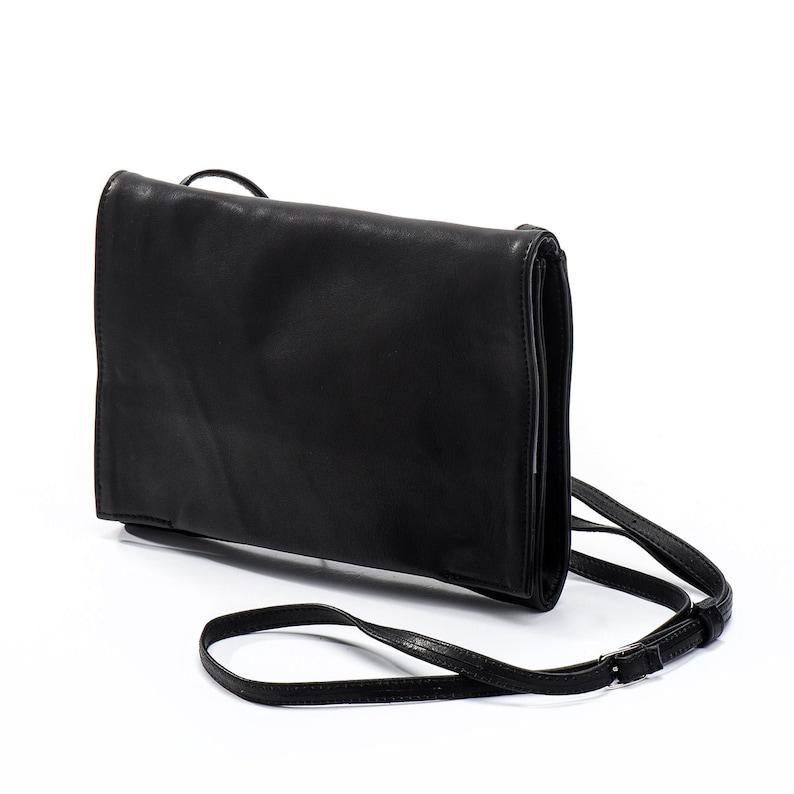 2a17ad9cac Black Clutch Purse Leather Clutch With Crossbody Strap | Etsy