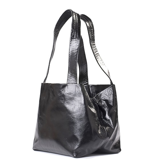 ac29f1e88e Shiny Black Leather Handbags Everyday Shoulder Purse For