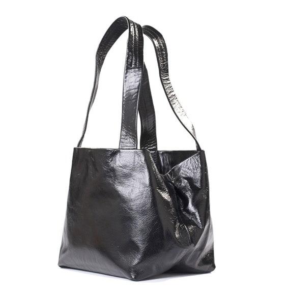 Shiny Black Handbag for Women Shoulder Purse Large Leather   Etsy 8f4a41c17d