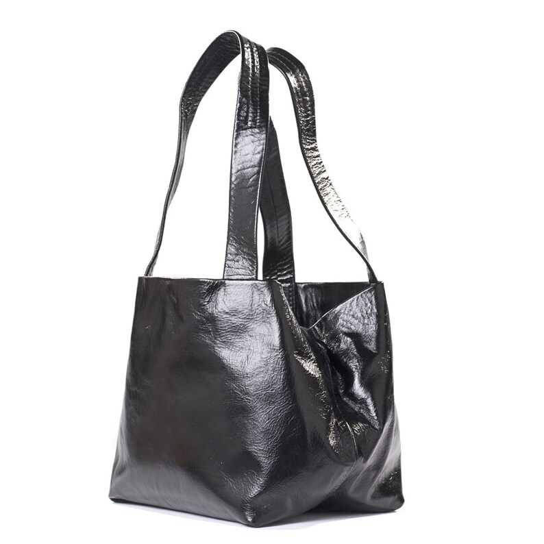 4f1aa696f6 Shiny Black Handbag for Women Shoulder Purse Large Leather