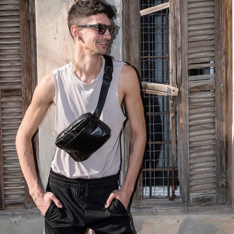 Vegan Waist Bag Hands Free Bag Fanny Pack Festival Pouch Cross Body Belt Bag Shiny Black Hip Bag UNA Bum Bag Fanny Packs For Man