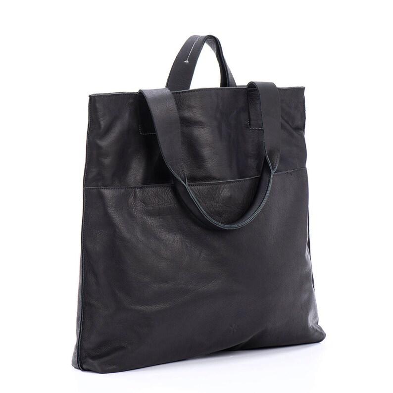 93a28335419 Black Leather Tote, Work Bags For Women, Leather Handbags, Large Shoulder  Bag, Black Laptop Purse - Amalya M L