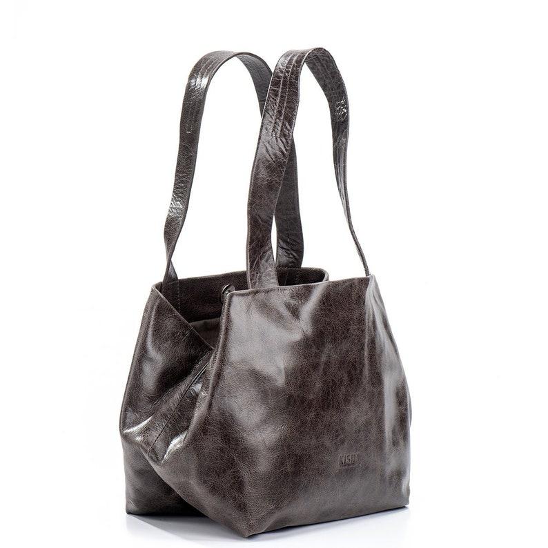 bc987e3bb1 Dark Gray Leather Handbags Women s Purse Large Shoulder