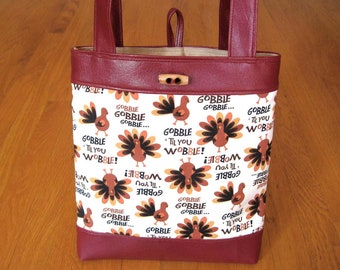 Small Tote Bag Holiday Thanksgiving Turkeys Brown Tan Gold Orange Creamy White COTTON Gobble Til You Wobble! Marine Vinyl, Faux Suede Lining