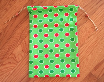 Polka Dot Drawstring Bags 8x12 Lime, Green Red White Dots Circles 100% COTTON 2-sided Cinch Pouch, 2 Wooden Beads Christmas Retro Mod Chic