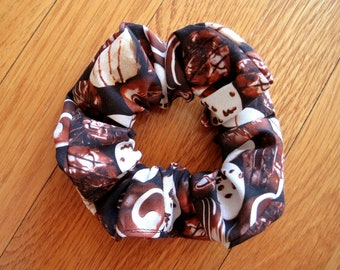 Novelty Scrunchie Dark BROWN Milk WHITE Chocolate Candy 100% COTTON Ponytail Hair Holder Bonbon Sweet Confection Valentine Mother's Day gift