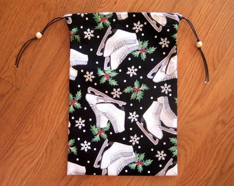 Christmas Drawstring Bags 8x12 BLACK White Ice Skates Green Holly Red Berries Silver Snowflakes Glitter Cotton 2-sided Pouch, 2 Wooden Beads