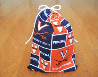 Sports 6x8 Drawstring Bag Handmade from The University of Virginia NCAA 100% COTTON College Graduation Party Football Gaming Pouch Men Women