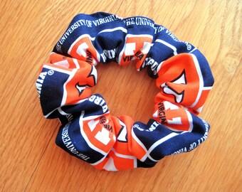 Sports Scrunchie Handmade from The University of Virginia 100% COTTON Navy Blue Orange NCAA College Football Athletics Ponytail Hair Holder