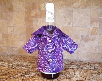 Mini BATIK Wine Bottle Shirt Cover PURPLE Swirls Flowers Boho Watercolor Cotton Hostess Bartender Gift 3 Tiny Juvenile APPLEWOOD 9mm Buttons