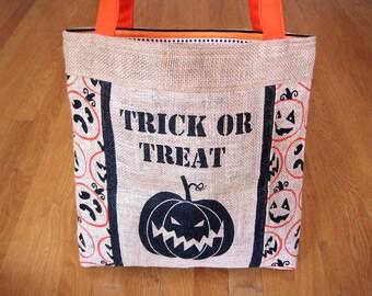 Medium Tote Bag TRICK Or TREAT Rustic Black Orange Pumpkins Jack-O-Lanterns Natural Beige Jute Burlap Cotton Stripes Duck Canvas REVERSIBLE!