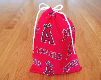 Sports Drawstring Bag 6x8 Handmade from LA Angels COTTON Red Black White Silver Halo MLB pro Baseball sports pouch trading cards gaming gift
