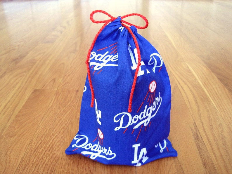 Sports Drawstring Bags 6x8 Handmade From La Dodgers 100 Cotton Blue White Red Mlb Baseball Pro Sports Team Pouch Trading Cards Gaming Gift