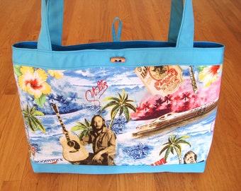 Jumbo Tote Bag Stephen Stills Hawaiian Tropical Blue Sky Ocean Yellow Hibiscus Tan Guitars Green Palms RAYON Turquoise Duck Cloth REVERSIBLE