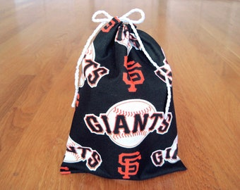 Sports Drawstrings 6x8 Handmade from SF Giants 100% Cotton Black White Orange MLB pro Baseball team Gift Bag Gaming Fan Birthday Party Pouch