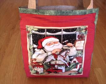 Jumbo Tote Bag Vintage Toy Shop Christmas Santa Workshop Rocking Horse Red Truck Drum Sled Bear Doll 100% COTTON Jute BURLAP Gift REVERSIBLE