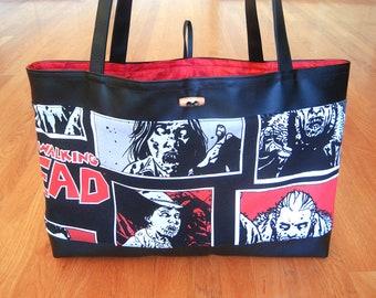 Jumbo Tote Bag Features Photos from the hit comic AMC's Walking Dead Series Handmade from 2015 Robert Kirkman COTTON Black Vinyl REVERSIBLE!