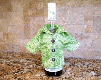 Mini TROPICAL Wine Bottle Shirt Cover Light GREEN Palm Leaves Fronds COTTON Housewarming Hostess Bartender Gift 3 Real Coconut Shell Buttons