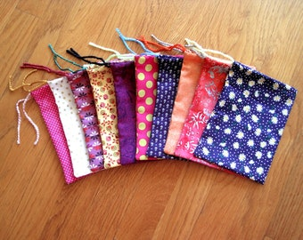 Assorted Mini Pouches 4x6 SET of 10 Flowers Polka Dots Paisley Gold Stars 100% COTTON, Batik, All Occasion Bags Men Women Jewelry Gift Cards