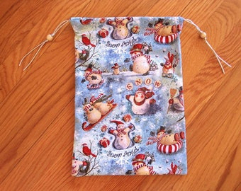 Snow Angel Drawstring Bags 8x12 Light Blue, Snowman Sledding Ice Skating Red Cardinal Birds 100% GLITTER COTTON 2-sided Pouch 2 Wooden Beads