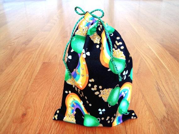 8a6a5af5 St Patrick's Drawstring Bags 6x8 Green Shamrocks Rainbows | Etsy