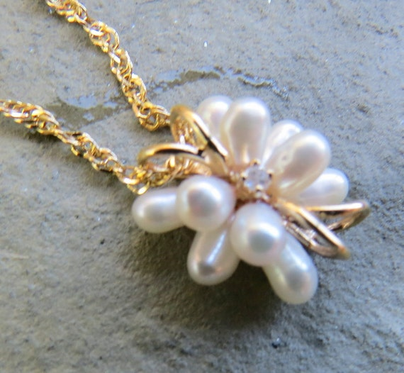 Vintage 14kt Gold Pearl and Diamond Necklace - image 2